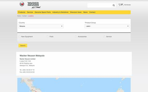 Screenshot of Contact Page Locations Page wackerneuson.my - Locations | Wacker Neuson - captured Oct. 24, 2018