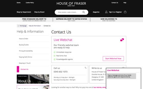 Screenshot of Contact Page houseoffraser.co.uk - contact - House of Fraser - captured Aug. 19, 2016