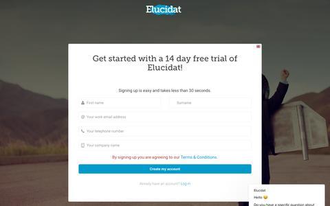 Screenshot of Trial Page elucidat.com - Elucidat says… - captured Sept. 28, 2018