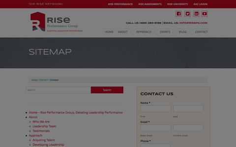 Screenshot of Site Map Page riseperformancegroup.com - Sitemap - Rise Performance GroupRise Performance Group - captured Jan. 11, 2016