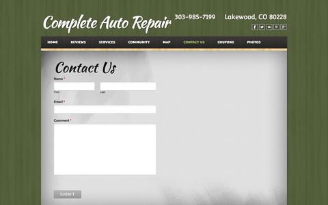 Screenshot of Contact Page weebly.com - Contact Us - Complete Auto Repair Lakewood, CO  - Complete Auto Repair - captured Sept. 17, 2014
