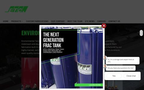 Screenshot of About Page etctank.com - About - Environmental Tank and Container - captured Nov. 10, 2018