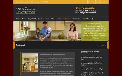 Screenshot of Testimonials Page scheipeter.com - Testimonials - S.W. Scheipeter Construction - captured Oct. 3, 2014