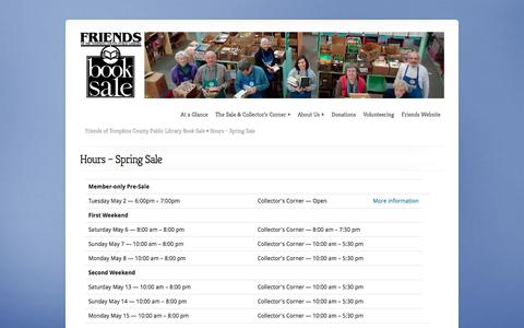 Screenshot of Hours Page booksale.org - Hours – Spring Sale | Friends of Tompkins County Public Library Book Sale - captured April 11, 2017