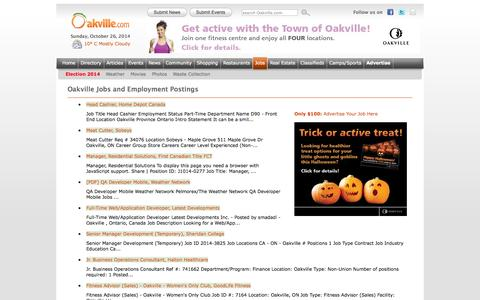 Screenshot of Jobs Page oakville.com - Oakville Jobs and Employment Postings - captured Oct. 26, 2014