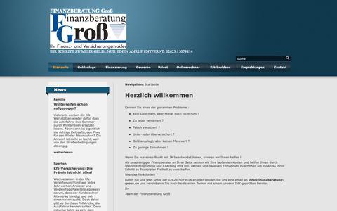 Screenshot of Home Page finanzberatung-gross.de - Herzlich willkommen - FINANZBERATUNG Groß - captured Oct. 29, 2018