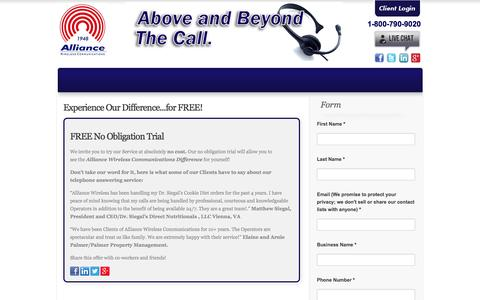 Screenshot of Trial Page alliancewireless.com - Start Your Free Trial Today | Alliance Wireless Communications - captured Oct. 4, 2014