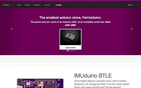 Screenshot of Home Page femtoduino.com - smallest arduino clone | Femtoduino - captured Oct. 5, 2014