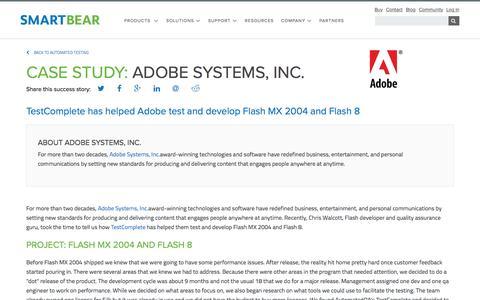 Screenshot of Case Studies Page smartbear.com - Case Study: Abobe Systems | SmartBear - captured May 19, 2017