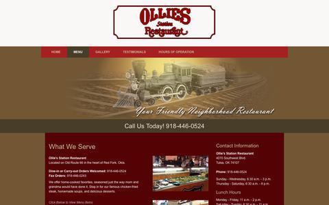 Screenshot of Menu Page olliesstation.com - Menu    Tulsa, OK   Ollie's Station Restaurant - captured June 18, 2016