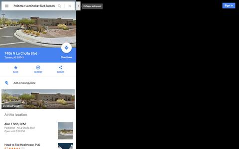 Screenshot of Maps & Directions Page google.com - 7406 N La Cholla Blvd - Google Maps - captured Dec. 8, 2015