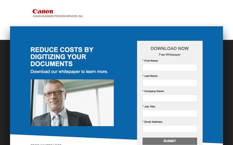 Screenshot of Landing Page canon.com - Canon Business Process Services - captured June 21, 2017