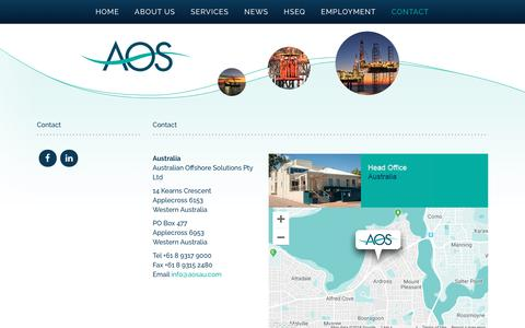 Screenshot of Contact Page aosau.com - Contact - Australian Offshore Solutions - captured Oct. 4, 2018