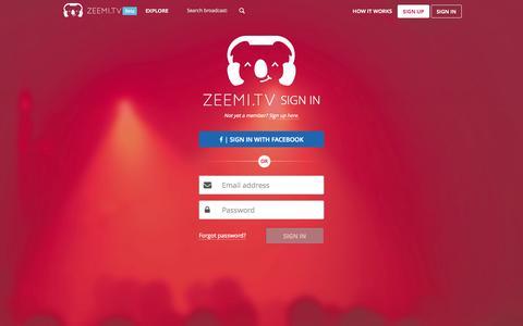 Screenshot of Login Page zeemi.tv - Your virtual stage - Zeemi.tv - captured Oct. 7, 2014