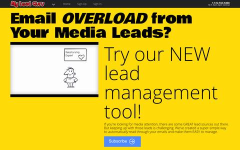 Screenshot of Home Page myleadguru.com - My Lead Guru - Experts on business, travel, and just about any topic you can think of! - captured Sept. 25, 2014