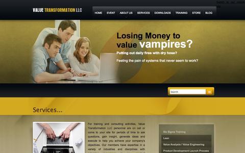 Screenshot of Services Page valuetransform.com - Services | Value Transformation - captured Oct. 27, 2014
