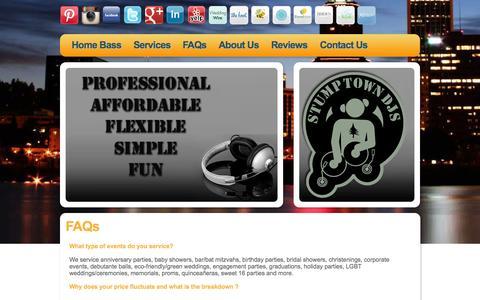 Screenshot of FAQ Page stumptowndjs.com - Portland DJ, FAQs - STUMPTOWN DJs - captured Oct. 9, 2014