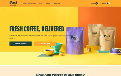 Screenshot of Home Page pactcoffee.com - The UK's Favourite Coffee Subscription Service | Pact Coffee - captured Oct. 10, 2019