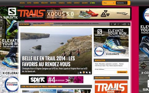 Screenshot of Home Page trails-endurance.com - Trails Endurance Mag : Le magazine n°1 du trail running et du sport nature - captured Sept. 24, 2014