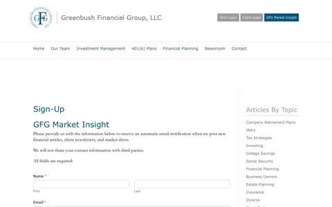 Screenshot of Signup Page greenbushfinancial.com - Sign-Up - Greenbush Financial Group, LLC - captured Feb. 2, 2016