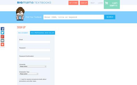 Screenshot of Signup Page bigmama.ca - Textbook Rental - BigMama Textbook Rentals Canada - captured Oct. 5, 2014