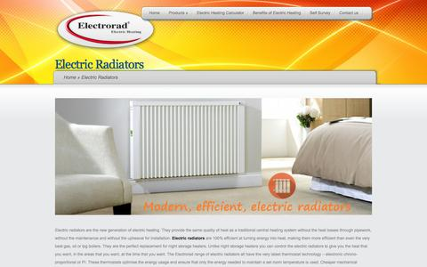 Screenshot of Products Page electrorad.co.uk - Electric Radiators from Electrorad - captured Oct. 25, 2014