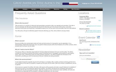 Screenshot of FAQ Page azgat.com - Great American Title Agency - FAQs - captured Sept. 30, 2018