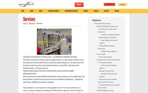 Screenshot of Services Page flowsciences.com - Services | Flow Sciences - captured Oct. 6, 2014