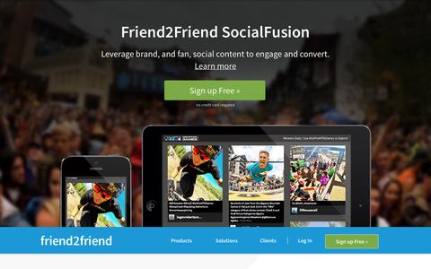 Screenshot of Home Page friend2friend.com - Friend2Friend: Engage Fans With Brands on Social - captured Jan. 21, 2015