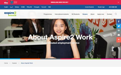 Screenshot of Jobs Page aspire2international.ac.nz - About Aspire2 Work - Aspire2 International - captured Sept. 19, 2017