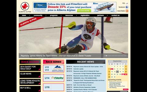 Screenshot of Home Page albertaalpine.ca - Alberta Alpine - captured Sept. 19, 2014