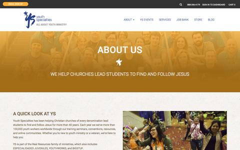 Screenshot of About Page youthspecialties.com - About Us   Youth Specialties - captured Nov. 23, 2015