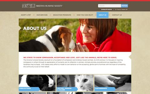 Screenshot of About Page azhumane.org - Learn about the Arizona Humane Society - captured Sept. 19, 2014
