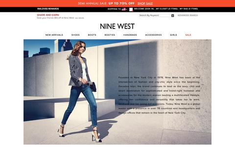 Screenshot of About Page ninewest.com - Shoes for Women | Handbags for Women | Nine West - captured Jan. 13, 2016