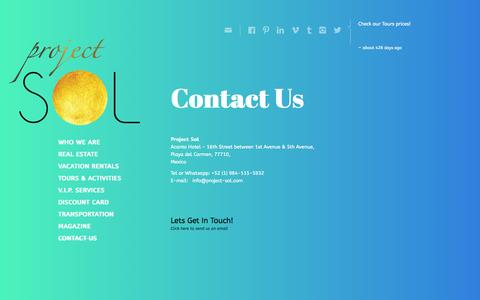 Screenshot of Contact Page project-sol.com - Project SolContact Us - Project Sol - captured Sept. 30, 2014