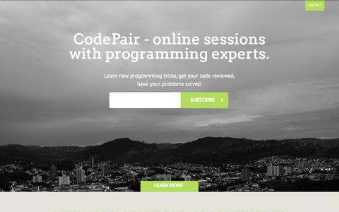 Screenshot of Home Page codepair.com - CodePair - online sessions with programming experts - captured Sept. 30, 2014