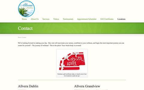 Screenshot of Locations Page allvera.com - Contact - Allvera Dublin- Whole Health | Body Wraps and Body Treatments - captured Feb. 5, 2016