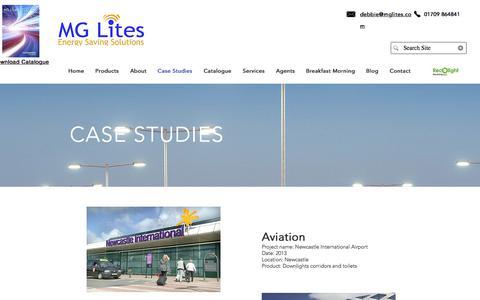 Screenshot of Case Studies Page mglites.com - MG Lites - Case Studies - Commercial LED Lighting - captured Sept. 29, 2017