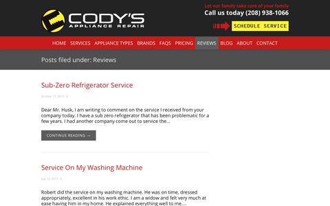 Screenshot of Testimonials Page codysappliancerepair.com - Appliance Repair Boise Reviews - captured July 20, 2018