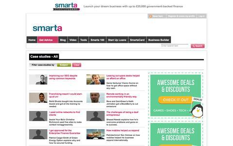 Screenshot of Case Studies Page smarta.com - Free business case studies | Smarta - captured Jan. 11, 2016