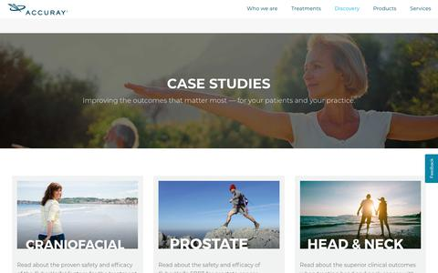Screenshot of Case Studies Page accuray.com - Accuray Case Studies - captured May 6, 2019