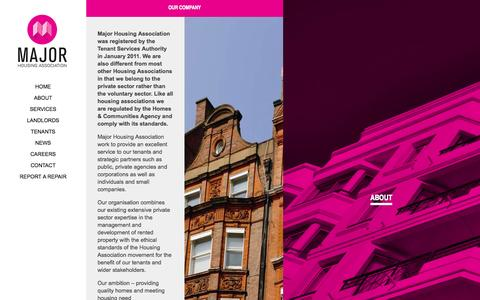 Screenshot of About Page majorha.com - Major Housing Association - captured Oct. 3, 2014