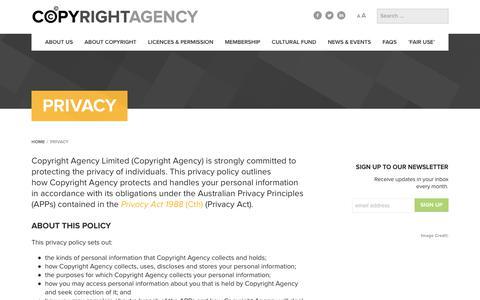 Screenshot of Privacy Page copyright.com.au - Privacy - Copyright Agency - captured Aug. 30, 2017