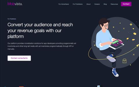Screenshot of Developers Page mobvista.com - Developer - Reach your revenue goals with tools that work - captured Sept. 20, 2018