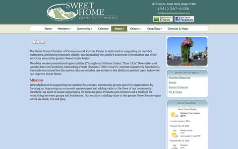 Screenshot of About Page sweethomechamber.com - About | Sweet Home Chamber of Commerce - captured May 25, 2016