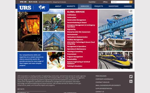 Screenshot of Services Page urs.com - Services | urs.com - captured Sept. 23, 2014