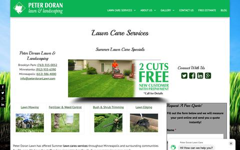 Screenshot of Home Page peterdoranlawn.com - Lawn Care Services | Peter Doran Lawn & Landscaping - captured June 9, 2019