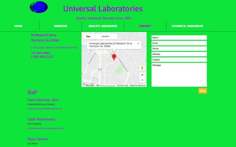 Screenshot of Contact Page universallaboratories.net - Universal Laboratories provides services in the Environmental Testing  | CONTACT - captured July 14, 2018