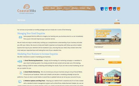 Screenshot of Services Page coastalvas.com - Services | Coastal VAs - captured Sept. 30, 2014