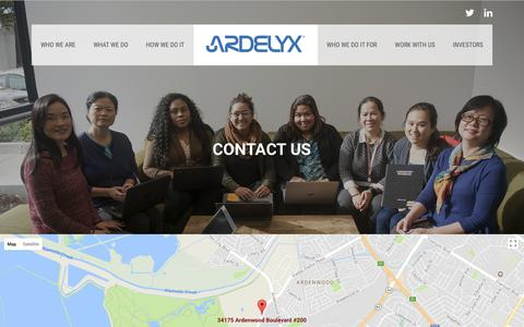Screenshot of Contact Page ardelyx.com - Contact | Ardelyx - captured Oct. 8, 2017